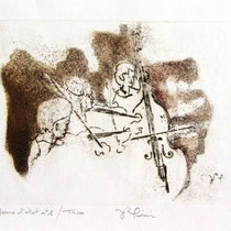 * 992-Gravure,estampe musique :  Trio, Contrebasse, violons