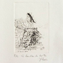 *1101-  Gravure,estampe :   Le haut-fer de Bois-de Champ et sa roue d'eau