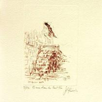 *1102-  Gravure,estampe :   Le haut-fer de Bois-de Champ et sa roue d'eau