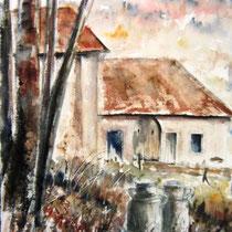 239- Une ferme aux environs de Gérardmer, aquarelle 20x30