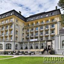 Schon bald eine historische Aufnahme: Kursaal und Hotel Europäischer Hof/Europe vor dem riesigen Umbauprojekt. Von 2014-2014 wird das Hotel mit einem 100-Millionen-Franken-Projekt in ein 5-Stern-Luxushotel umgewandelt.