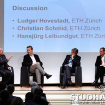 Plenary Discussion with Ludger Hovestadt, Christian Schmid and Hansjuerg Leibundgut, ETH Zurich, chaired by Marc Angelil. Second day of the conference - Zweiter Tag der Konferenz Academia Engelberg 2012: Future Cities/Zukunftsstaedte im Hotel Europe