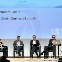 Round Table Chaired by Gerhard Schmitt, ETH Zurich: Lai Choo Malone-Lee, University of Singapore, Daniel Kuebler, University Zurich and Kees Christiaansen. Dritter und letzter Tag der Konferenz Academia Engelberg 201