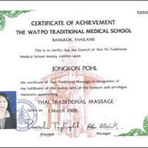 Zertifikat Klassische Thaimassage