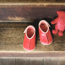 baby moccasin 12cm / red x pink