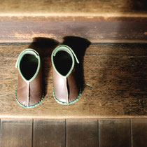 baby moccasin 13cm / gray x green
