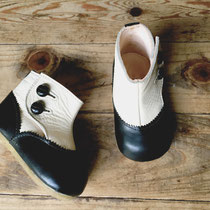 antique boots 14cm / black x white