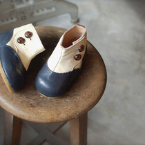 antique boots 14cm / navy x white