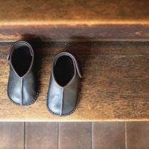 baby moccasin 14cm /  black x black