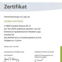 "Zertifikat ""AMTS-Manager ""  | Cronen Apotheke Coesfeld"
