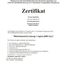 "Zertifikat ""Teilnahme Fortbildung Mensch – Opioide bei Rückenschmerzen ""  | Cronen Apotheke Coesfeld"