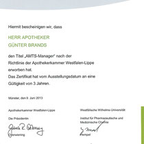 "Zertifikat ""Qualitätszertifikat QMS ""  | Cronen Apotheke Coesfeld"