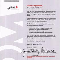 "Zertifikat ""QM System Qualitätszertifikat bis 2024 |Apothekerkammer Westfalen-Lippe ""  | Cronen Apotheke Coesfeld"