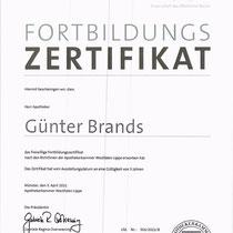 Fortbildungszertifikat Apotheker Günter Brands - Apothekerkammer Westfalen-Lippe   Cronen Apotheke Coesfeld