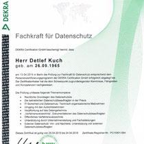 "Zertifikat ""Fachkraft für Datenschutz DEKRA / Detlef Kuch ""  | Cronen Apotheke Coesfeld"