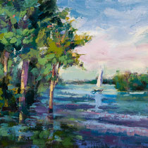 Along the River ---  Medium: Oil -- Size: 12 X 9