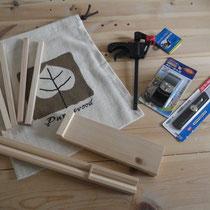 参加者のご要望から生まれMyはし作りキット。道具一式とお箸二膳分の材料がお求めいただけます。
