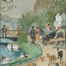 """Walter Draesner, """"Märchenbrunnen im Hofgarten"""" Gouache auf Papier, 1927"""