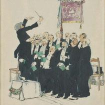 """Walter Draesner,""""Männerchor"""", Gouache auf Papier, 1927"""