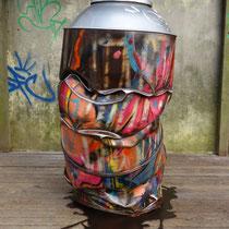 """ Bombazot"" méga bombe compressée en métal sur flaque. 2013, env h1.50 x 1.10 x 0.80 m. disponible."
