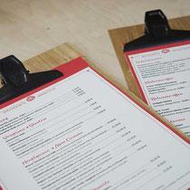Speisekarten und gravierte Klemmbretter - perfekt für Skihütte, Hotel & Restaurant