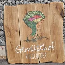 XL-Holzschilder - Direktdruck auf Holzlatten für den Gemüsehof Voggeneder im Machland