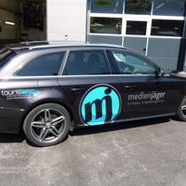 Edle Fahrzeugbeklebung für die Werbeagentur Medienjäger, Innsbruck