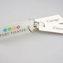 """Schlüsselanhänger """"Apart Hanser"""" aus Plexiglas geschnitten und bedruckt"""