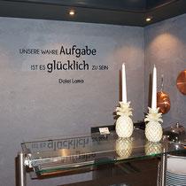 """3D-Wandbeschriftung aus Acrylglas im Frühstücksraum """"Hotel Zillergrund"""""""