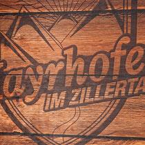 TVB Mayrhofen - Altholz Schild im Direkt-Plattendruck