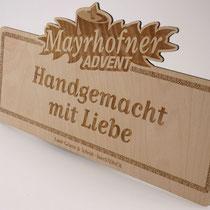 Schilder für den Mayrhofner Advent- & Weihnachtsmarkt, geschnitten und graviert