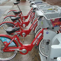 Boulder B-Cycles lined up at a station