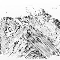 北アルプス 蝶ヶ岳山頂から槍ヶ岳をのぞむ