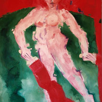 Painter paints red  1999 Oil on canvas 161x92 cm - available