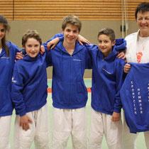 von links Lena Dobrocky, Ivo Peters, Johannes Koschel, Alex Ligon und Trainerin Bärbel Lühmann