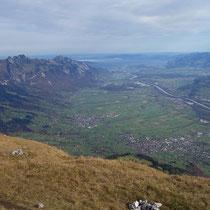Aussicht ins St.Galler Rheintal bis zum Bodensee