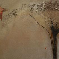 détail arbre lunaire et semences d'amour volant au vent sous une étoile