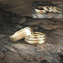 Trauringe Gelbgold, Hammerschlag, gedrehter Ring und Alliance