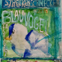 mixed media  Blauvogel   35x70cm