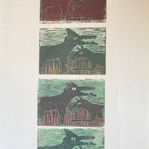Linolschnitt Hunde 3   30x50cm