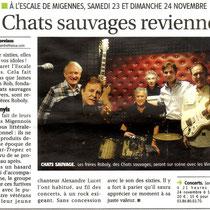 Les Vinyls et Les Chats Sauvages - Article de l'Yonne Républicaine du 23/11/2013