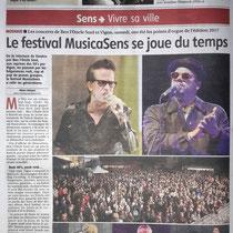 L'Yonne Républicaine - Les Vinyls au Fstival MusicaSens - 3 Juillet 2017