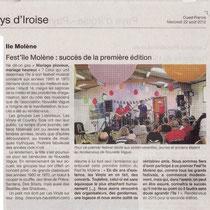Ouest France - 22 Août 2012 - Les Vinyls à Molène
