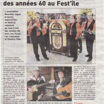 Le Télégramme - 14 Août 2012 - Les Vinyls à Molène