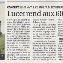 Alexandre Lucet et Les Vinyls - L'Yonne Républicaine - 24 Novembre 2012