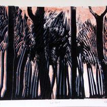 Le vent - Linogravure