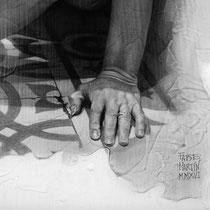 """""""Ruido blanco / White noise"""". (Fragmento / Detail). Grafito sobre tabla / Graphite on board. 2016.  50 x 50 cm."""