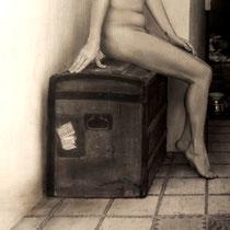 """""""El viaje de Susi / Susi's Trip"""".  (Fragmento / Detail). Grafito sobre tabla / Graphite on board. 2016.  116 x 73 cm. Colección del MEAM (Museo Europeo de Arte Moderno)."""