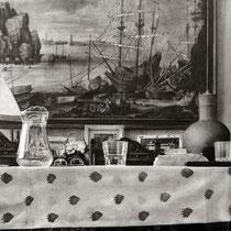 """La sobremesa"". (Fragmento / Detail). Grafito sobre tabla / Graphite on board. 2017. 114 x 146 cm. Colección del MEAM (Museo Europeo de Arte Moderno)."