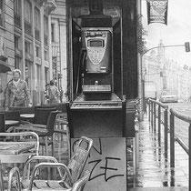 """""""Cabina de teléfono / Telephone Box"""" Grafito sobre papel / Graphite on paper. 2011. 100x40 cm. Colección particular."""